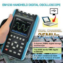 2 in 1 Handheld Digital Storage Oscilloscope Digital Multimeter DMM 25MHz