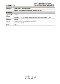 GW Instek GDS-2102E Digital Storage Oscilloscope 100MHz 2 Channel 1GS/s DSO VPO