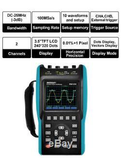 Portable Digital Storage OscilloscopeDMM TFT LCD Scope Meter 25MHz 2 Channel USB