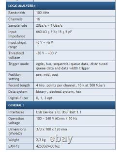 Peaktech P1190 Stockage Numérique Oscillosope 100mhz 2 Canal 16 Ch Logic Analyzer